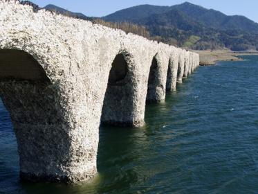 湖に立つタウシュベツ川橋梁