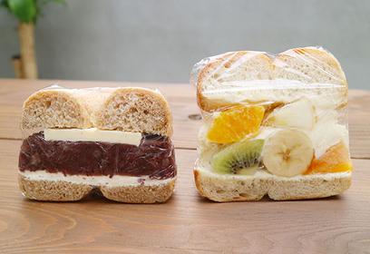 左はあんバター 右はフルーツのベーグル