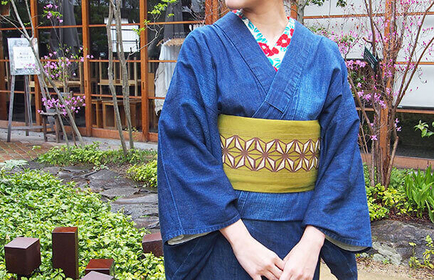 岡山 倉敷 デニム着物で散策 美観地区散策 児島産デニム レンタル着物で観光