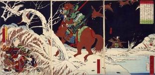 錦絵 真田幸村、巡見中の徳川家康を追い詰める 明治六年(1873年)上田市立博物館 蔵