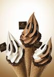 右から「ホワイトチョコレートバニラ」、「ダブルチョコレート」、「ミックスチョコレート」、各490円(税込)