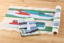 絵てぬぐい「大宮走る電車たち」「新幹線大集合」各1,296円(税込)
