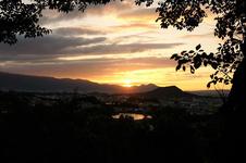 甘樫丘 頂上から見る夕日