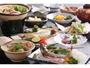 あつあつの餡かけ饅頭や新鮮な川魚のあらいなどをご用意(季節により内容は変わります。)