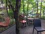 木立に囲まれた喫茶テラスにはハンモックなども置いてあります