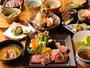 ご夕食は「海鮮しゃぶしゃぶ」「お肉の溶岩焼き」よりメインをご選択(写真はお肉の溶岩焼きイメージ)