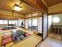 当館一番人気!吟心亭「去来」。昭和の趣きを表現した広々とした客室。源泉露天風呂付きです。