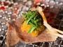 いろり焼きのスライスしたお肉はおろしポン酢と大葉であっさりと。(いろりコース)