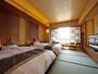 和風ツイン(ハ゛ス・トイレ付)畳敷きのお部屋に低ベットを常設:全館で4室:全て禁煙。ご希望で3名可。