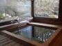 陽だまりの家の檜風呂。目の前に色とりどりの草木が。