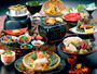 お食事一例《活鮑の踊り焼》海の幸をふんだんに使用した海鮮料理をご堪能下さい