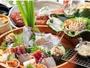 金目鯛の姿煮付、桜海老のかき揚げ、鯛の姿造りが付いて、あわび又はステーキが選べる【最上級献立】