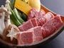 【游山鍋】A4等級以上の厳選飛騨牛のみを使用。しゃぶしゃぶ&焼肉を同時にお楽しみ頂ける当館名物料理。