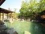 ・千坪の敷地に野趣あふれる露天風呂を豊富な自家源泉で楽しめます。