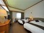 エグゼクティブツイン(ET)24平米。シーリー社製ベッド使用。10階建て9階10階のお部屋。線路と反対側。