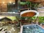 【左上】内湯【右上】薬湯と真珠風呂【左下】露天岩風呂【右下】露天天鉱石風呂