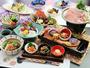 【秋 ご夕食一例】ブランド豚「純白のビアンカ」陶板焼きと新潟の味覚が楽しめる人気のコースです。