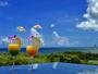 石垣島の海の眺めるガーデンレストラン。トロピカルなドリンクを片手に思わず記念に1枚いかがですか。